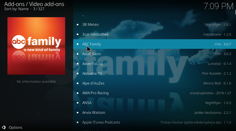choose audio add-ons, video add-ons,