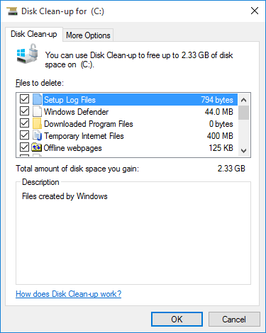 Free up space on the system disk