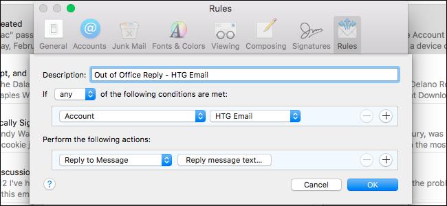 mac mail Add rule window