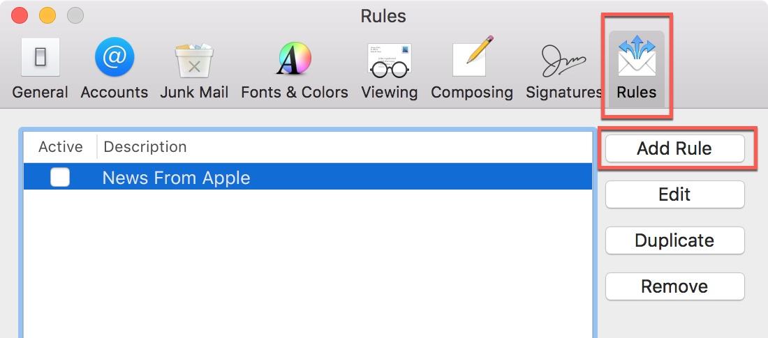 mac mail Add rule