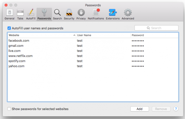saved Safari passwords