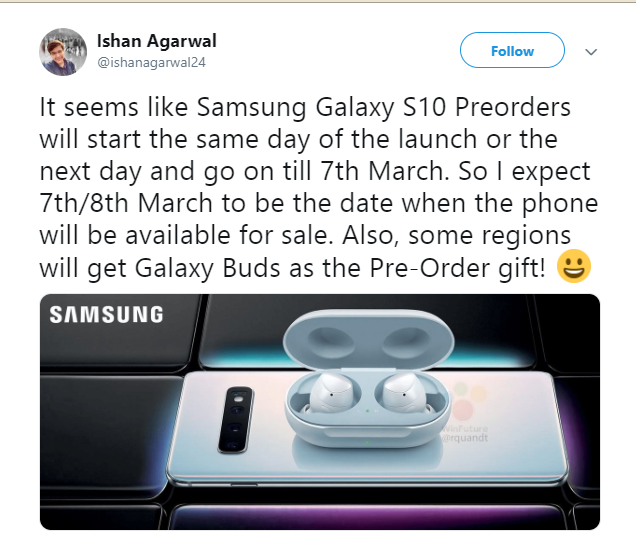 Samsung can offer Galaxy Buds for free in the pre-sale Galaxy S10