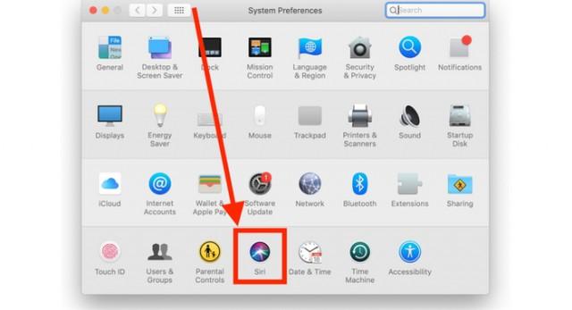 Select Siri preferences panel