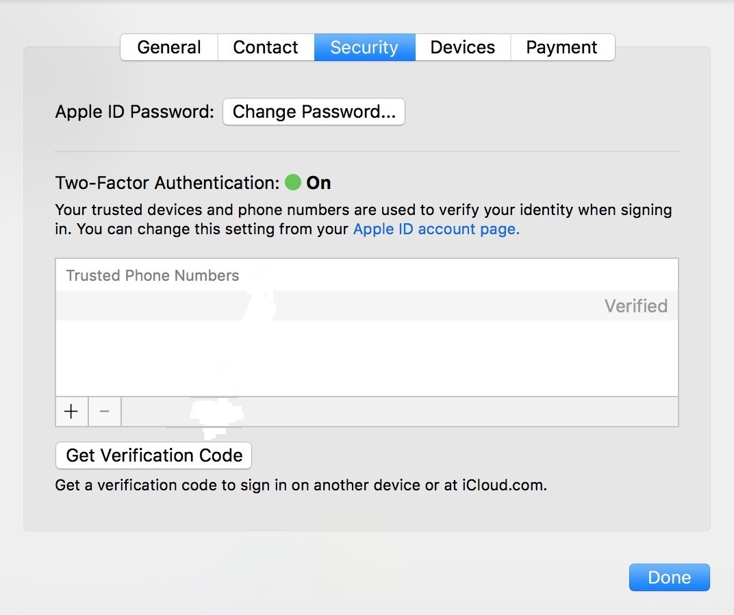 Verification in two factors iCloud in macOS