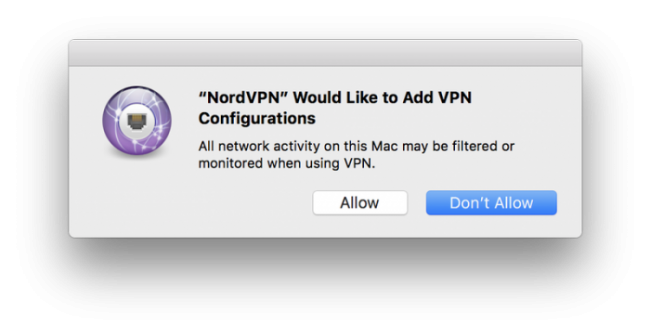 Allow the VPN to add configurations