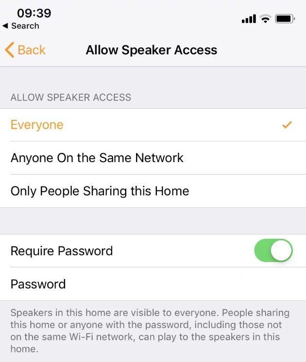 Allow speaker access