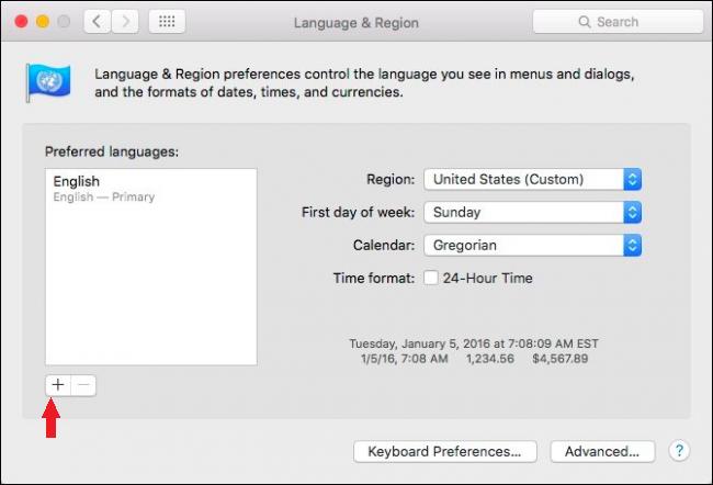 Language Choice screen