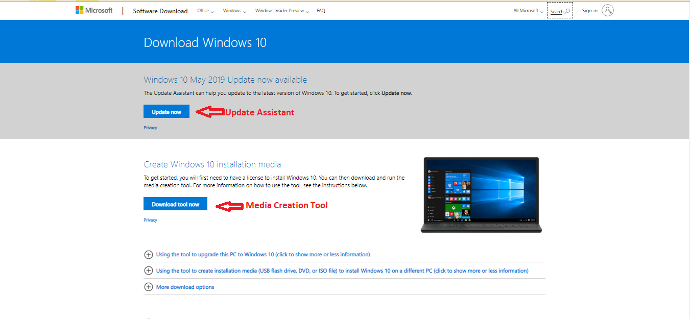 Microsoft website windows 10