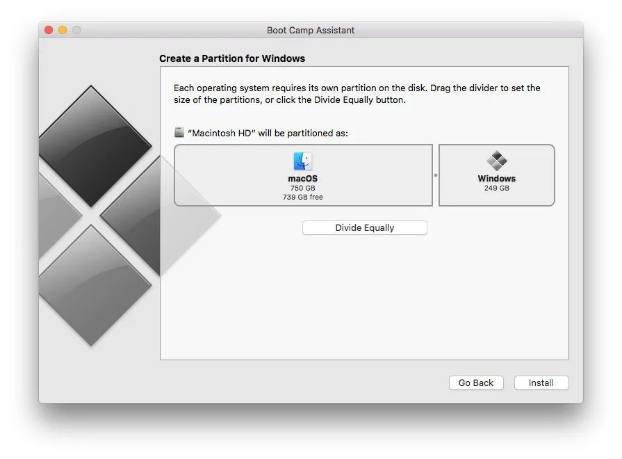 Adjust the desired size of your partition