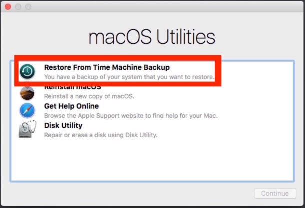 Restore from the Time Machine backup